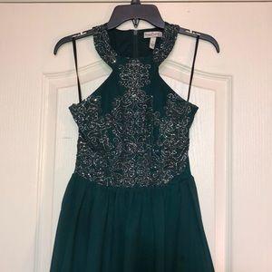 High-Low Emerald Green Homecoming Dress